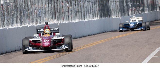 St. Petersburg, Florida/ USA March 10 2019:  IndyCar #21 coming down the straight away during the Firestone Grand Prix of St. Petersburg IndyCar race on March 10, 2019 in St. Petersburg Florida