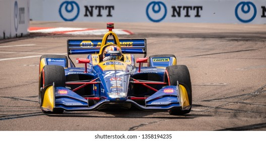 St. Petersburg, Florida/ USA March 9 2019: Alexandr Rossi drives #27 Honda Indycar on the track at the Firestone Grand Prix of St. Petersburg IndyCar race on March 9, 2019 in St. Petersburg Florida
