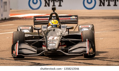 St. Petersburg, Florida/ USA March 9 2019: Ed Carpenter Racing  on the track at the Firestone Grand Prix of St. Petersburg IndyCar race on March 9, 2019 in St. Petersburg Florida