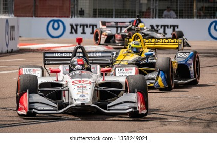 St. Petersburg, Florida/ USA March 9 2019: Marco Andretti #98 on the track at the Firestone Grand Prix of St. Petersburg IndyCar race on March 9, 2019 in St. Petersburg Florida