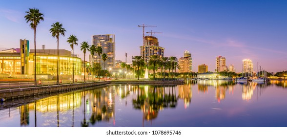 St. Petersburg, Florida, USA skyline on the water at sunset.