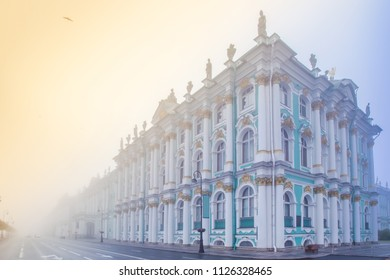 St. Petersburg in the fog. The Palace Embankment in St. Petersburg. Embankment with the Hermitage. Streets of Petersburg. Russia. Cities of the Russian Federation.