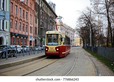 St. Petersburg, May 1, 2015.  the Nevsky Prospekt, a red tram.
