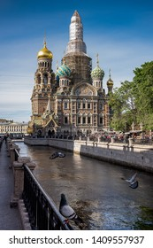 ST. PETERSBURG, MOSCOW, MAY 23, 2019: At display is the Church of the Saviour on the Spilled Blood - St. Petersburg, Russia