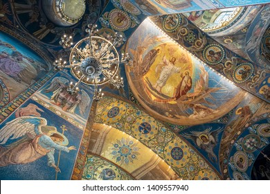 """ST. PETERSBURG, MOSCOW, MAY 24, 2019: Interior of The Church of the Resurrection, also known as the """"Savior on Spilled Blood"""", was built in memory of Alexander II who was assassinated in 1881"""