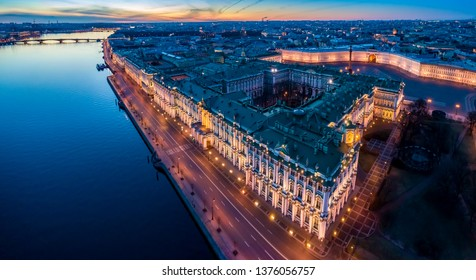 St. Petersburg. Palace Square. Russia Panorama of St. Petersburg. Hermitage in St. Petersburg. Museums of cities of Russia. Garden Hermitage. White nights in Petersburg. City from a height.