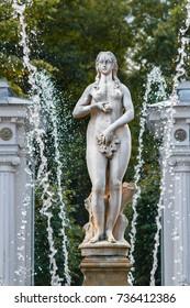 St. Petersburg, Peterhof. September 07. 2017.  One of the most beautiful fountains of Peterhof on the Marlin Alley. St. Petersburg. Russia.