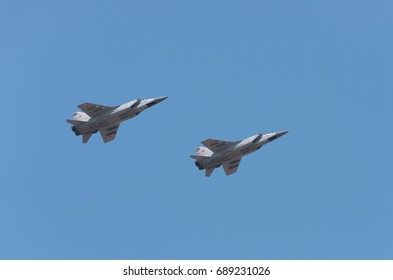 St. Petersburg REGION, RUSSIA - 23 July 2017. two jet fighters  MiG-31 in the sky