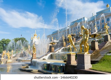 St. Petersburg, Russia. 01 July 2019: Grand Cascade of Peterhof Palace and Samson fountain