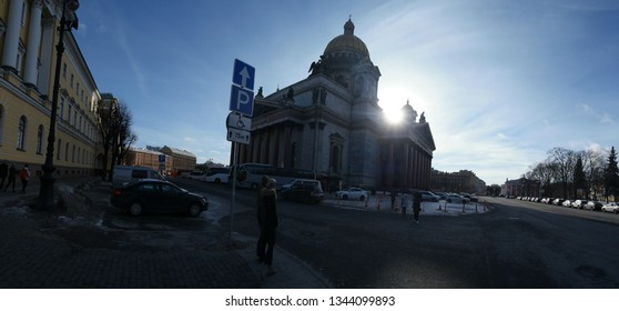 St. Petersburg, Russia 02 march 2019:. Backlit St. Isaac's cathedral in early spring