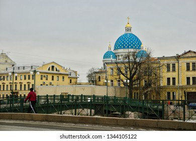 St. Petersburg, Russia 02 march 2019: St. Trinity cathedral in early spring hided behind cityscape