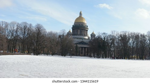 St. Petersburg, Russia 02 march 2019: Panoramic image of St. Isaac's cathedral in winter