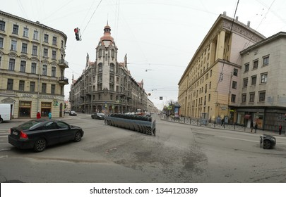 St. Petersburg, Russia 02 march 2019: St. In the center of St Petersburg scene, shot with artefacts coused by panorama stitch algoritm in early spring