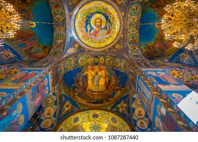 ST. PETERSBURG, RUSSIA, 02 MAY 2018: Ceiling Mosaic in the Cathedral of the Resurrection of Christ on the Blood of the Church of the Savior on Blood in Saint Petersburg