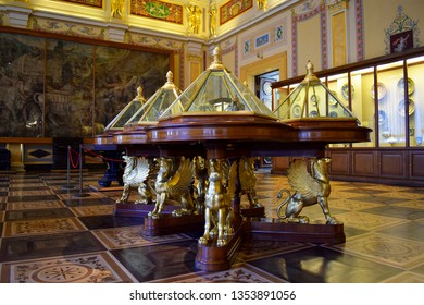 St. Petersburg, Russia, 05/14/2017: The State Hermitage Museum of Fine and Decorative Arts, located in the complex of the Winter Palace. One of the halls of the Hermitage