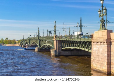 St. Petersburg, Russia, 05.16.2019. Trinity bridge - drawbridge over the Neva river in St. Petersburg