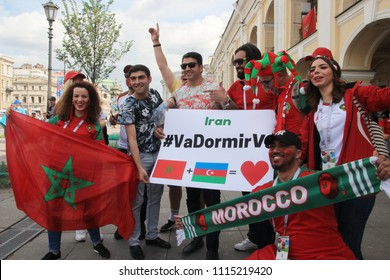 St. Petersburg / Russia - 06.15.2018:  Fans of the Moroccan national team at main street of the city Nevsky prospect before match Morocco - Iran of World Cup 2018