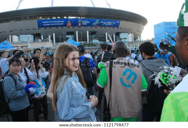 St. Petersburg / Russia - 06.26.2018  Fans go to the stadium for the World Cup match Nigeria - Argentina.