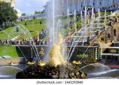"St. Petersburg/ Russia 07.27. 2019 - fountain in Peterhof  ""Samson"""
