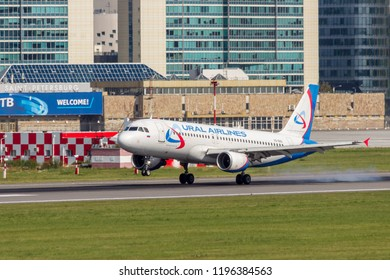 """St Petersburg, Russia - 08/16/2018: Short- to medium-range, narrow-body, commercial passenger twin-engine jet airliner Airbus A320 """"Ural Airlines"""" VQ-BAG in Pulkovo Airport."""