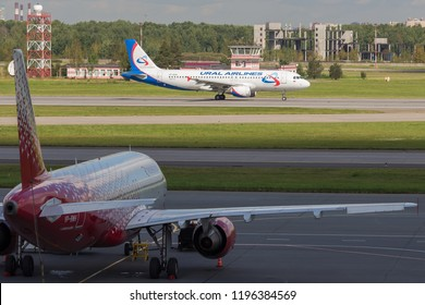 """St Petersburg, Russia - 08/16/2018: Short- to medium-range, narrow-body, commercial passenger twin-engine jet airliner Airbus A320 """"Ural Airlines"""" VP-BKB in Pulkovo Airport."""