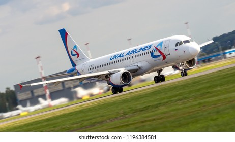 """St Petersburg, Russia - 08/16/2018: Short- to medium-range, narrow-body, commercial passenger twin-engine jet airliner Airbus A320 """"Ural Airlines"""" VQ-BCY in Pulkovo Airport."""