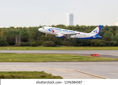 """St Petersburg, Russia - 08/16/2018: Short- to medium-range, narrow-body, commercial passenger twin-engine jet airliner Airbus A320 """"Ural Airlines"""" VP-BQW in Pulkovo Airport."""