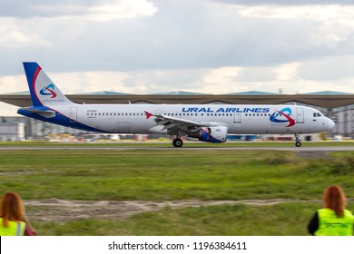 """St Petersburg, Russia - 08/16/2018: Short- to medium-range, narrow-body, commercial passenger twin-engine jet airliner Airbus A321 """"Ural Airlines"""" VP-BVP in Pulkovo Airport."""