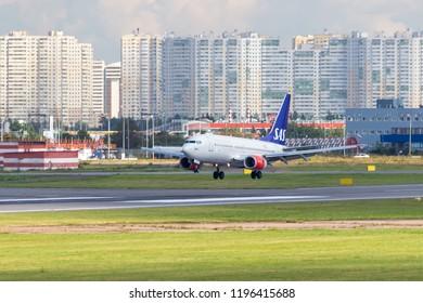 St Petersburg, Russia - 08/16/2018: Short- to medium-range, narrow-body, passenger twin-engine jet airliner Boeing 737-700 SAS Scandinavian Airlines LN-TUF in Pulkovo Airport. Official summer spotting