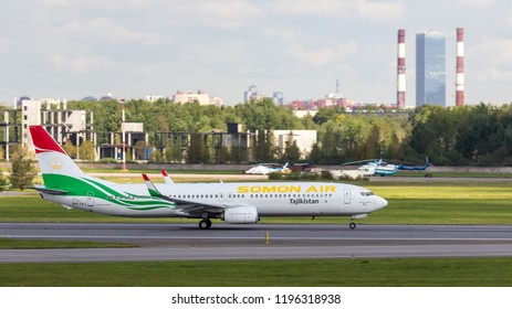 St. Petersburg, Russia - 08/16/2018: A turbojet airliner Boeing 737-900 Somon Air VQ-BBB P4-TAJ takes off at Pulkovo Airport, St. Petersburg. Official summer spotting at Pulkovo - 2018.