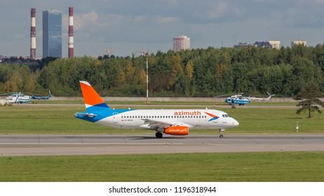"St. Petersburg, Russia - 08/16/2018: A turbojet airliner Sukhoi Superjet 100 SSJ 100-95LR ""Azimuth"" RA-89094 takes off at Pulkovo Airport, St. Petersburg. Official summer spotting at Pulkovo - 2018"