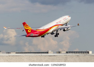 """St. Petersburg, Russia - 08/16/2018: A turbojet airliner Airbus A330 """"Hainan Airlines"""" B-5979 takes off at Pulkovo Airport, St. Petersburg. Official summer spotting at Pulkovo - 2018."""