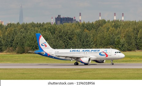 """St. Petersburg, Russia - 08/16/2018: A turbojet airliner Airbus A320 """"Ural Airlines"""" VP-BKB takes off at Pulkovo Airport, St. Petersburg. Official summer spotting at Pulkovo - 2018."""