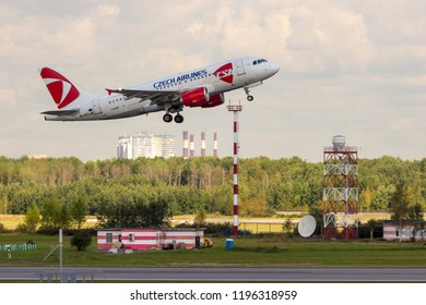 St. Petersburg, Russia - 08/16/2018: A turbojet airliner Airbus A319 Czech Airlines OK-REQ takes off at Pulkovo Airport, St. Petersburg. Official summer spotting at Pulkovo - 2018.