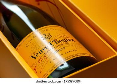 St Petersburg, Russia - 11 June 2020, Veuve Clicquot champagne bottle