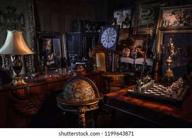 St. Petersburg / Russia - 11.11.2017: Antique shop at night