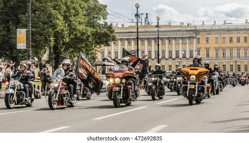 St. Petersburg, Russia - 12 August, 2016. The annual parade of Harley Davidson in the squares and streets of St. Petersburg.