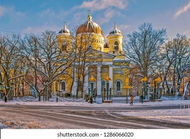 ST. PETERSBURG, RUSSIA - 12 JANUARY, 2019: Photo of Transfiguration Cathedral