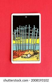St. Petersburg, Russia, 12 July 2021: Illustrative editorial. Tarot card. Minor Arcana  Ten of Swords.