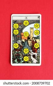 St. Petersburg, Russia, 12 July 2021: Illustrative editorial. Tarot card. Minor Arcana Ten of Pentacles.