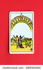 St. Petersburg, Russia, 12 July 2021: Illustrative editorial. Tarot card. Minor Arcana Ten of Cups.