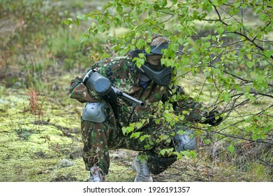 St. Petersburg, Russia 12-07-2016 Paintball players in full gear at the shooting range, tournament in St. Petersburg, Russia