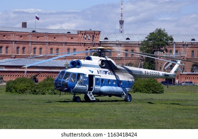 St Petersburg. Russia. 12.28.03. Russian Mil-8 helicopter of Baltic Airlines near government buildings in St Petersburg in the Russian Federation.