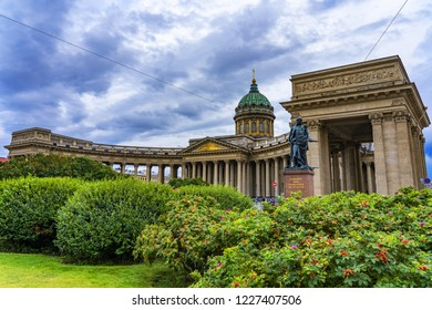 St Petersburg / Russia - 15 August 2018: Side view of the Kazan Cathedral in St Petersburg - mother cathedral for the city, this elegant c