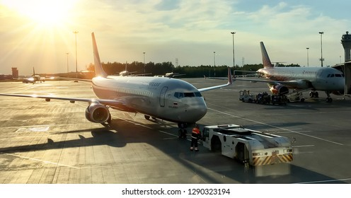 St. Petersburg, Russia 15,08,2018-Pulkovo airport, planes arrived, the horizon with a beautiful sunset.
