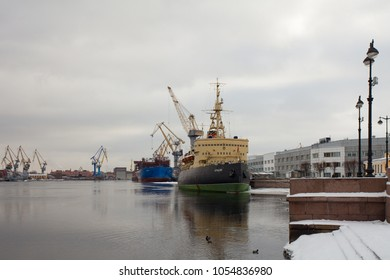 "St. Petersburg, Russia, 16 March 2018, Icebreaker ""Krasin"" at the pier, built in 1916"
