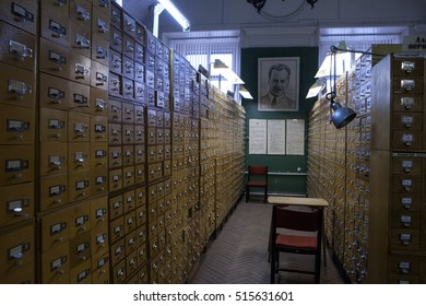St. Petersburg, Russia -22 October 2014: All-Russian Research Institute of Plant Vavilov. State Research Center. Catalog storage workers collections