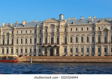 St. Petersburg, Russia - 25 August, 2011: Palace Embankment, view of the facade of the Profitable House Zherebtsova or Gagarin's house (1798-1800), landmark