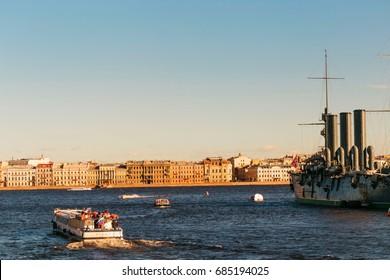 St. Petersburg, Russia - 28 June 2017: cruiser Aurora, ship museum in St Petersburg
