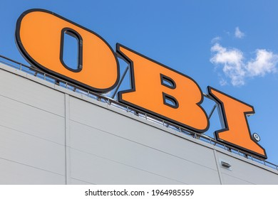 St Petersburg, Russia - 29 April 2021, OBI company sign on facade store